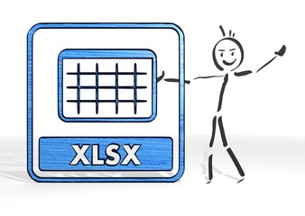 stick man presents xlsx symbol