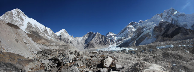 Mount Everest, Lhotse and Nuptse from Everest base camp