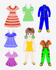 Paper doll with a set of  clothes