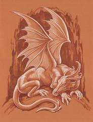 Рисунок кистью. Белый дракон.