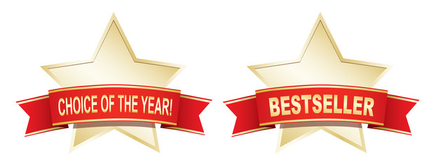Gold star labels - Bestseller and choice of the year.