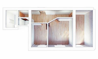 modern flat interior. 3d concept