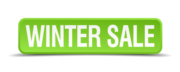 Winter sale green 3d realistic square isolated button