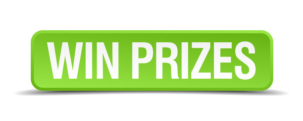 Win prizes green 3d realistic square isolated button