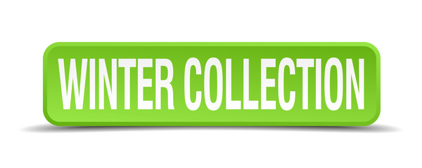 Winter collection green 3d realistic square isolated button