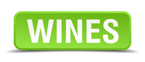 Wines green 3d realistic square isolated button