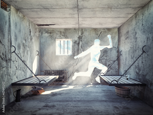 Leinwanddruck Bild escape from a prison cell