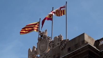 Flags of Barcelona, Catalonia & Spain on Barcelona City Hall.