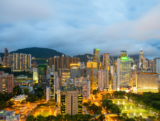 Hong Kong night skyline with clouds in the sky