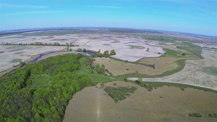 Rural panorama from big height with wood .Aerial summer