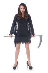 Woman in halloween concept with scythe