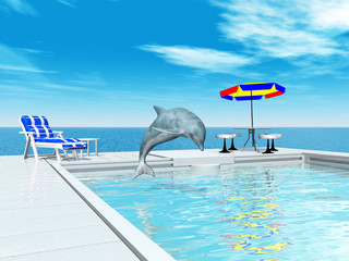Swimming pool and jumping dolphin