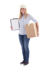 post delivery service woman holding blank clipboard and parcel i