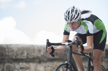 road cycling - woman take a downhill ride