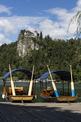 Two pletnas on the lake,Bled