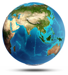 Globe Earth real relief and water