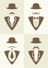 hipster set - abstract gentleman character
