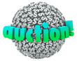 Постер, плакат: Auction Money Dollar Signs Symbols Ball Bid Item Buyer Seller
