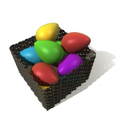 Mandje met gekleurde eieren