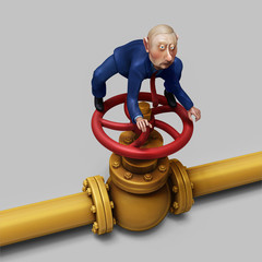 President Putin on gas pipe valve illustration
