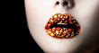 Lips with Gemstones. Beautiful Professional Holiday Makeup