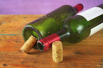 wine bottles and wine corks, free copy space