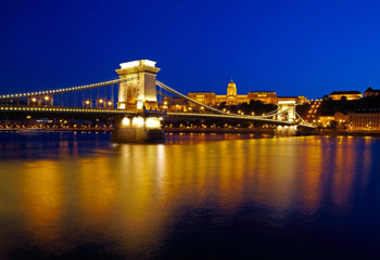 Budapest at night. Chain Bridge, Royal Palace and Danube river