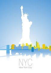 New York City blue color background vector