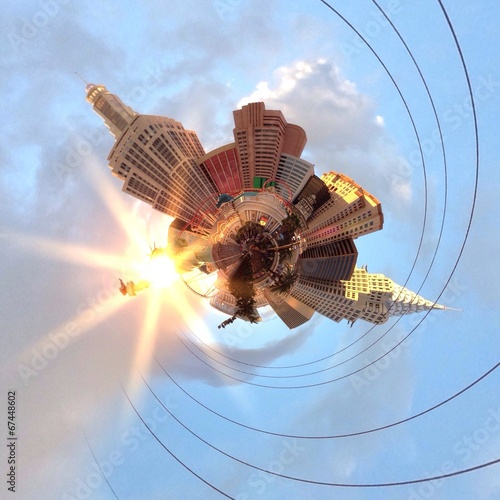 Poster Grote meren Abstract city skyline in a circular shape