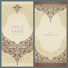 Vintage greeting cards with floral motifs in retro style.