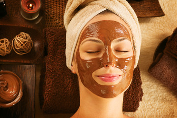 Chocolate Luxury Spa. Facial Mask. Day Spa Treatment