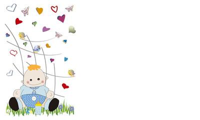Bebé y corazones