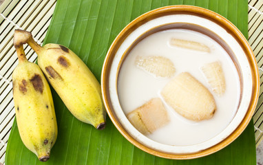 Banana in coconut milk and banana on banana leaves,Thai desert