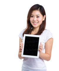 Woman show with digital tablet