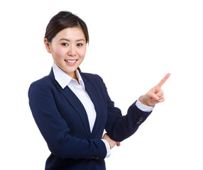 Asian business woman with finger point up