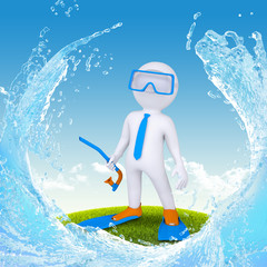 3d diver stand on green grass