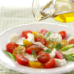 Olive oil on caprese