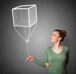 canvas print picture - Woman holding a cube balloon