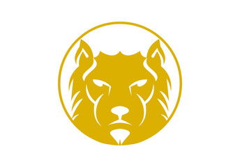 lion business logo, concept strenght couriage
