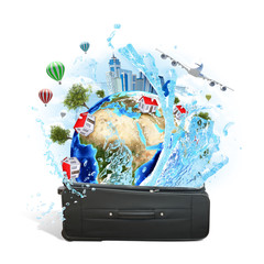 Earth with buildings and trees in travel bag