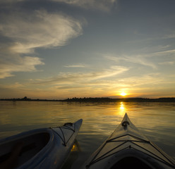 Two Kayaks at Sunset