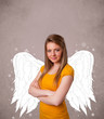 Cute person with angel illustrated wings on grungy background