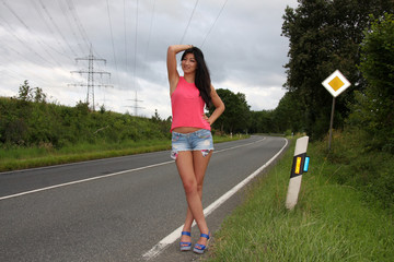 beautiful girl on the road