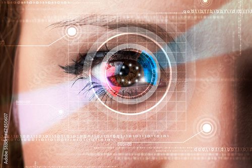 canvas print picture Cyber woman with technolgy eye looking
