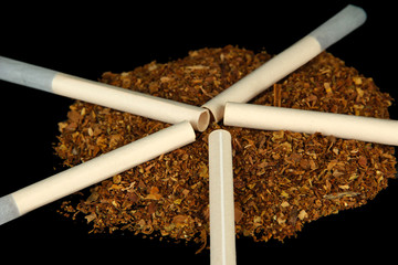 Tobacco and cigarette tubes, isolated on black