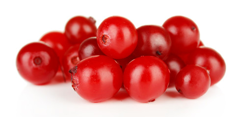 Ripe red cranberries, isolated on white.