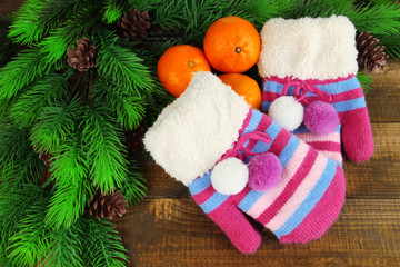 Striped mittens with fir branches and tangerines