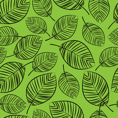 sketch leaves seamless pattern