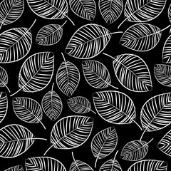 sketch white leaves seamless pattern