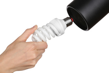 Hand changing light bulb for lamp at home, isolated on white